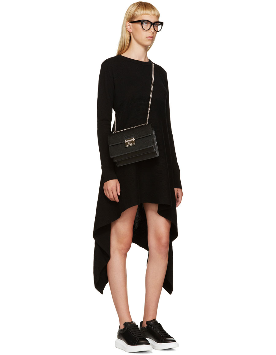 ALEXANDER MCQUEEN Black Cashmere Asymmetric Dress