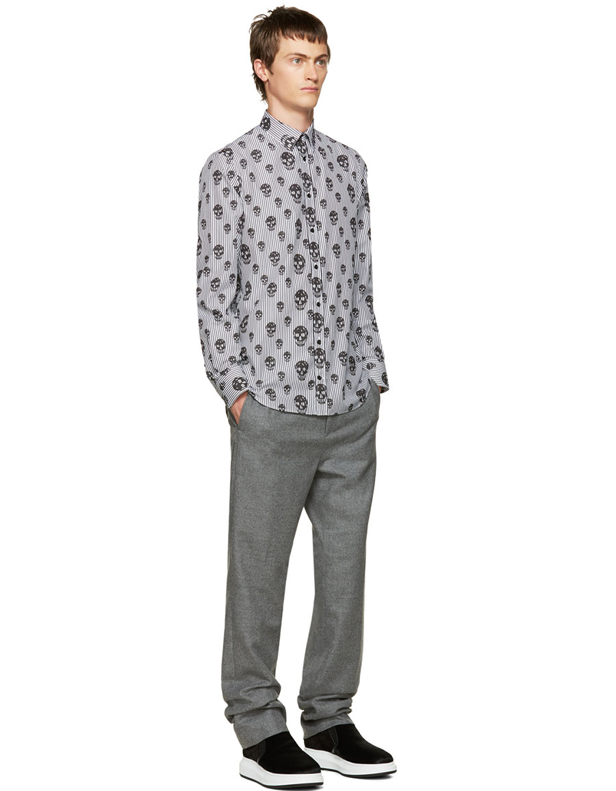 ALEXANDER MCQUEEN Black Stripes & Skulls Shirt