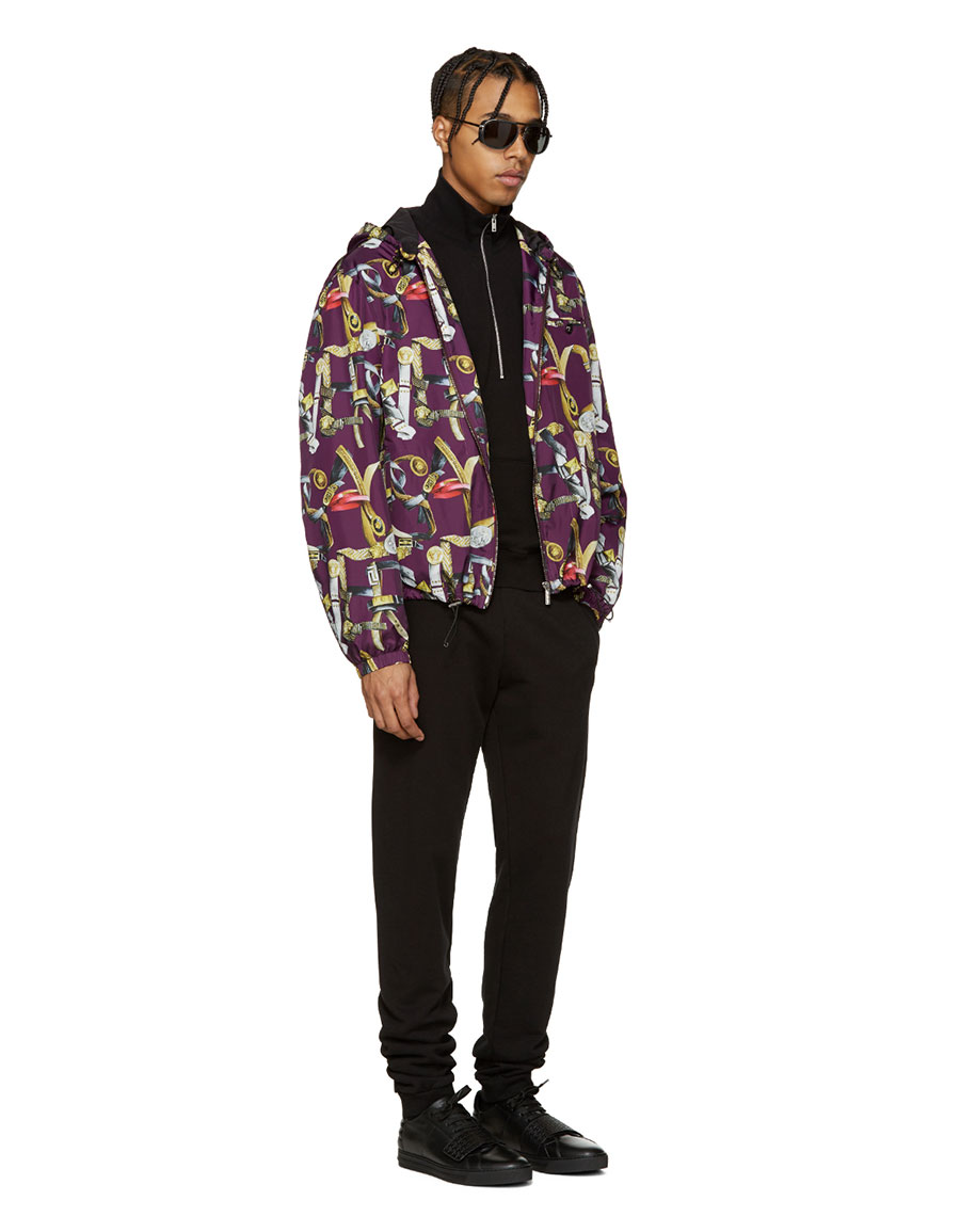VERSACE Multicolor Belts Print Hooded Jacket