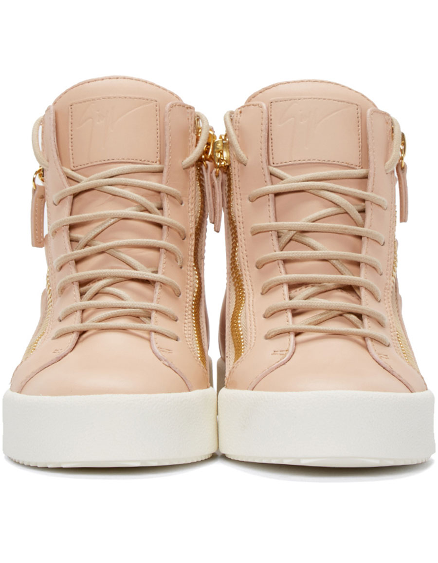 GIUSEPPE ZANOTTI Pink Leather Wings London High Top Sneakers