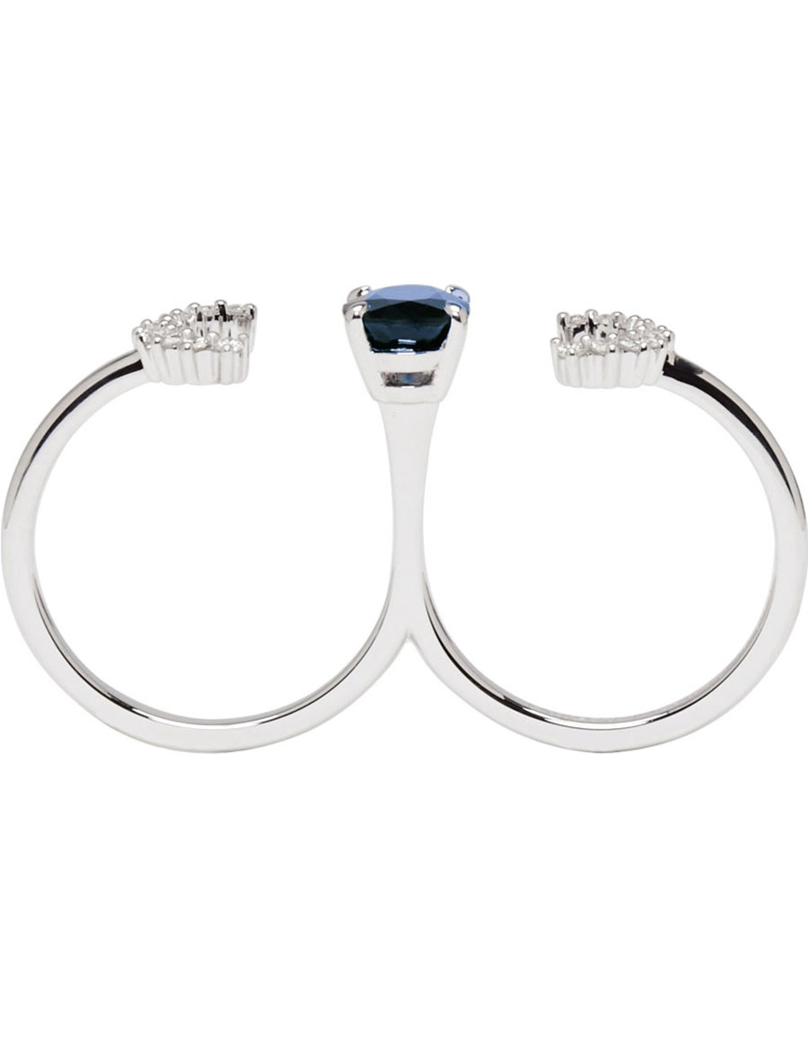 MAISON MARGIELA FINE JEWELLERY Diamond & Sapphire Pompadour Deconstructed Open Two Finger Ring