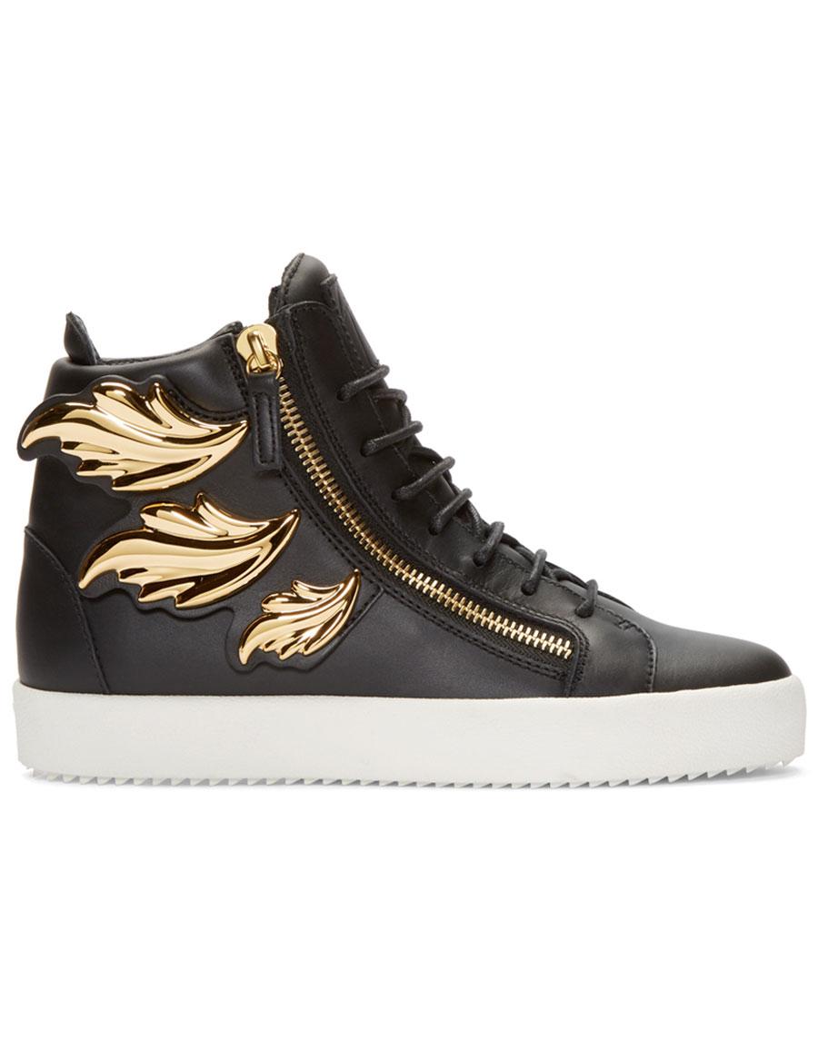 GIUSEPPE ZANOTTI Black Leather Leaf High Top London Sneakers