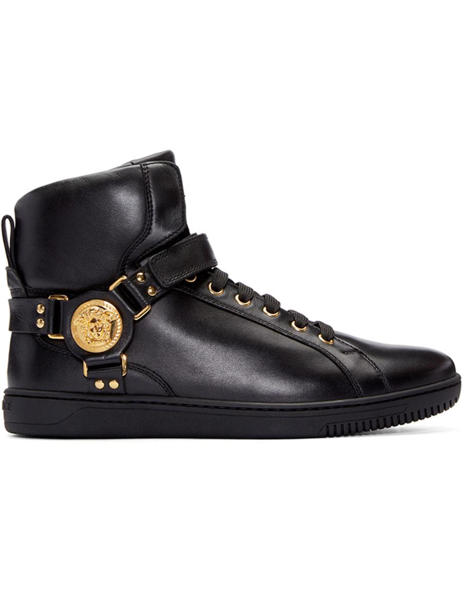 VERSACE Black Harness High Top Sneakers