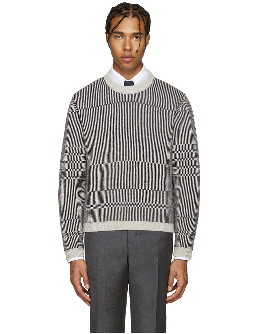 THOM BROWNE Grey Knit Striped Pullover