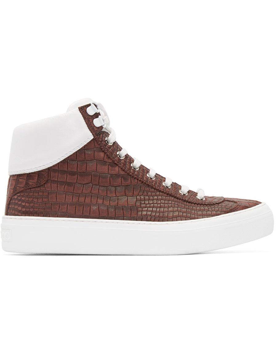 2b0bdba75265 JIMMY CHOO Red Croc-Embossed Argyle High-Top Sneakers ...