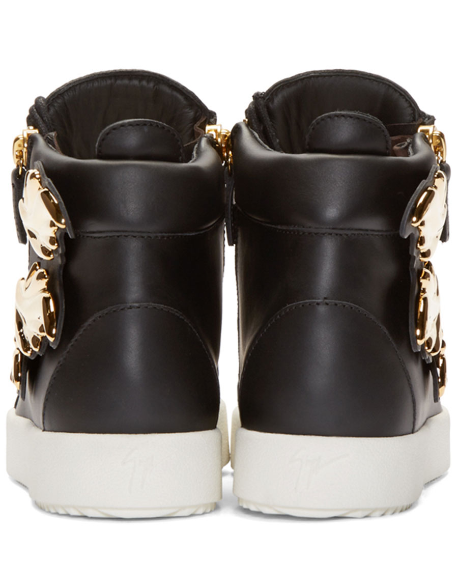 GIUSEPPE ZANOTTI Black Leather Leaf High Top London Sneakers