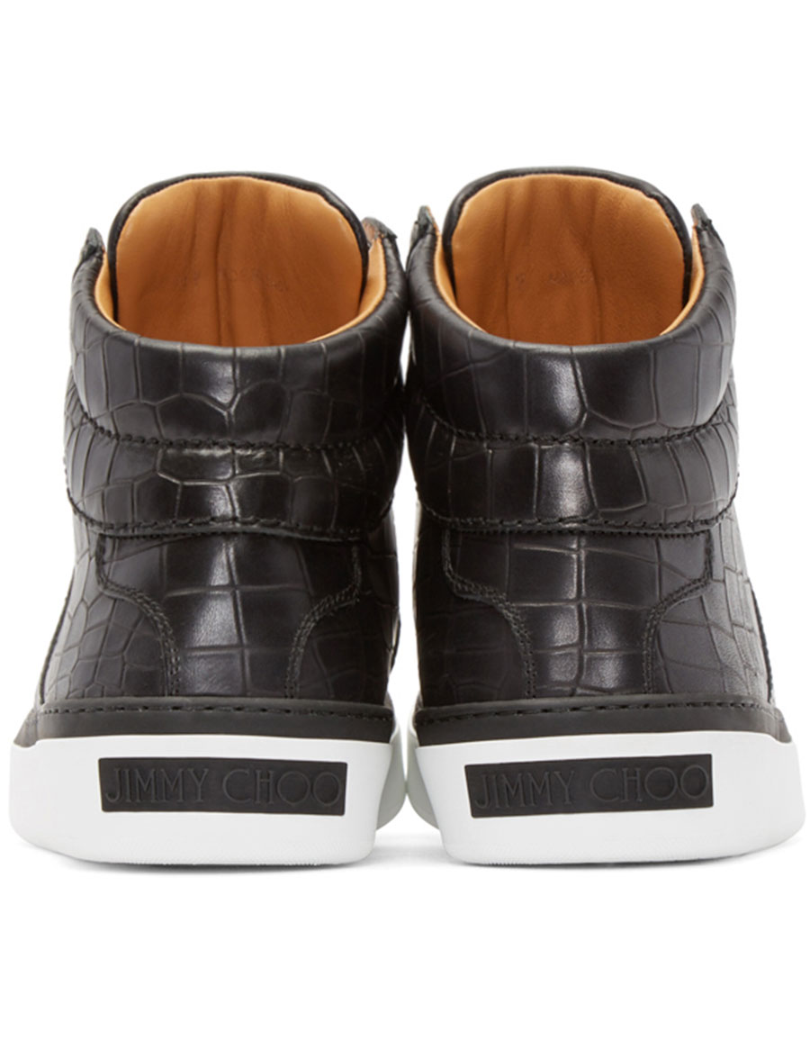 daa275e6c97 JIMMY CHOO Black Croc-Embossed Belgravia High-Top Sneakers · VERGLE