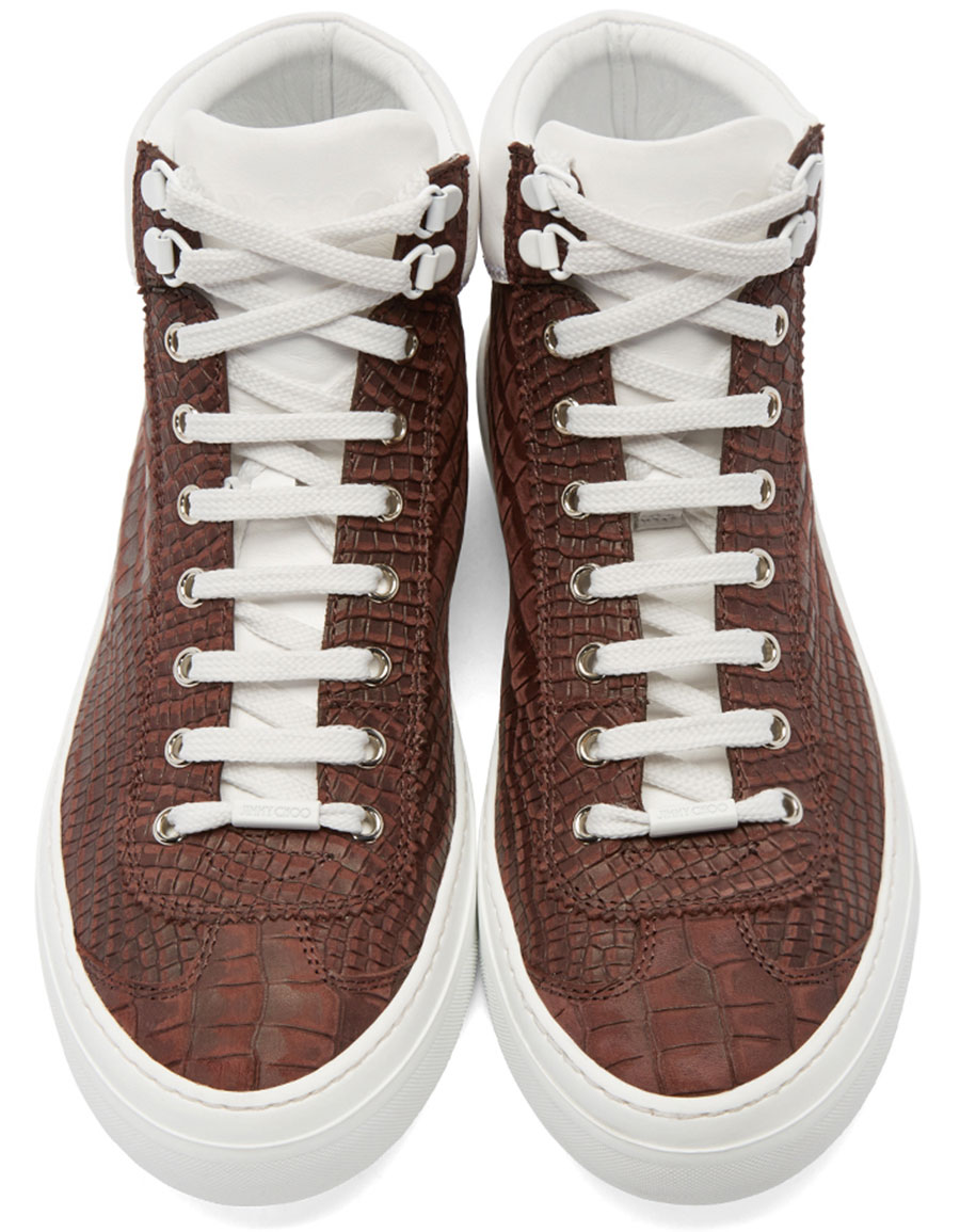 b6cccc63eb32 JIMMY CHOO Red Croc-Embossed Argyle High-Top Sneakers · VERGLE
