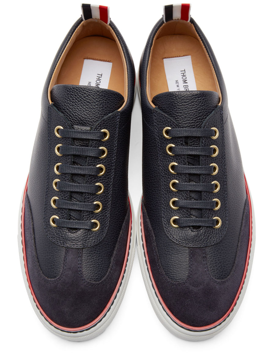 THOM BROWNE Navy Toe Cap Sneakers