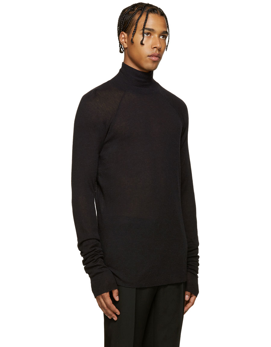 HAIDER ACKERMANN Black Ribbed Turtleneck