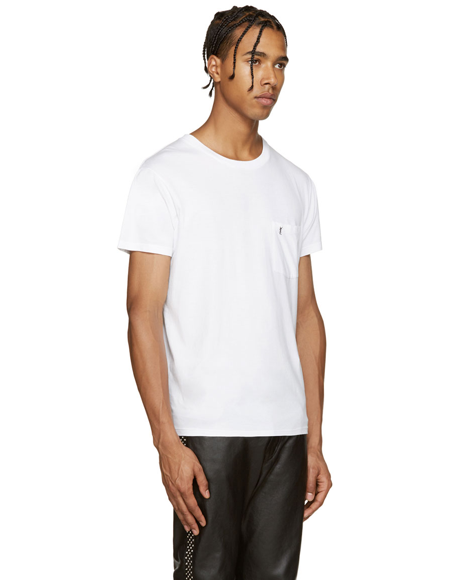 SAINT LAURENT White Logo Pocket T Shirt