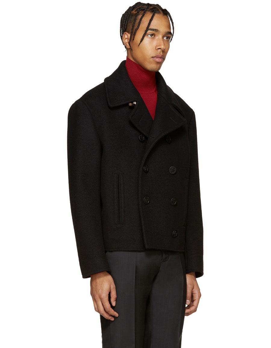 MAISON MARGIELA Black Wool Peacoat