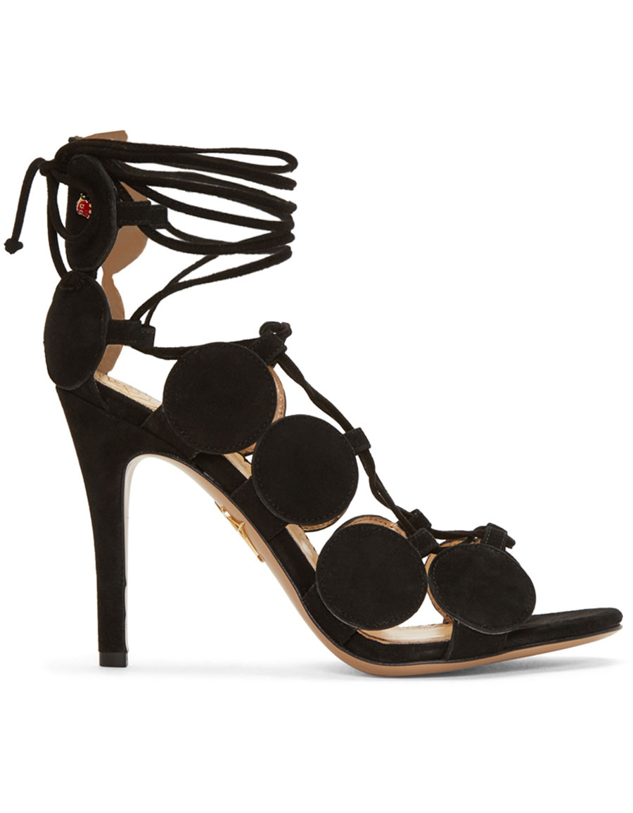 CHARLOTTE OLYMPIA Black Suede Dot To Dot Sandals