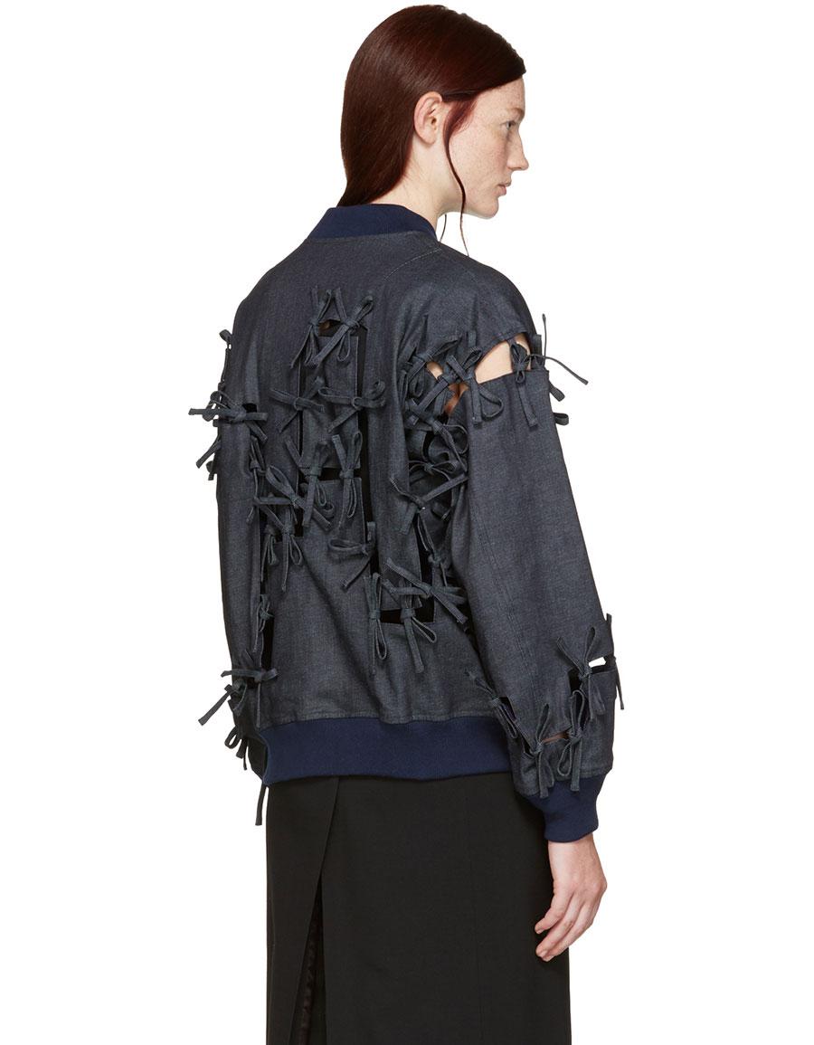 FACETASM Indigo Ties Bomber Jacket