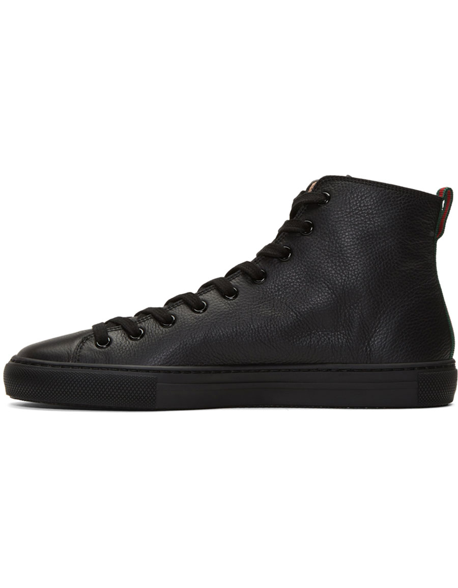 354d9bdb48fd6 GUCCI Black Major Tiger High-Top Sneakers · VERGLE