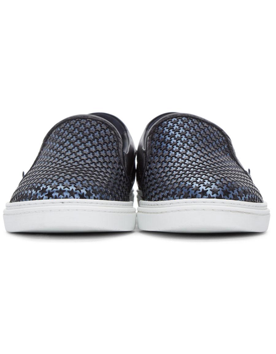 JIMMY CHOO Blue Satin Star Grove Slip On Sneakers