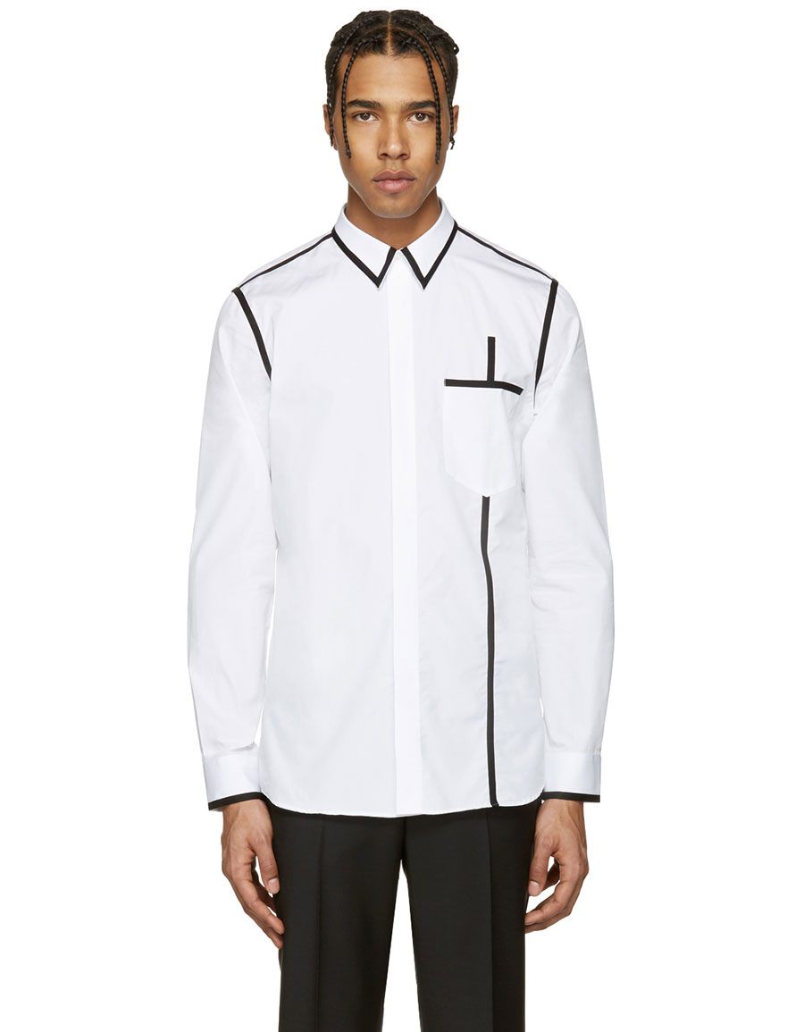 GIVENCHY White & Black Piping Shirt
