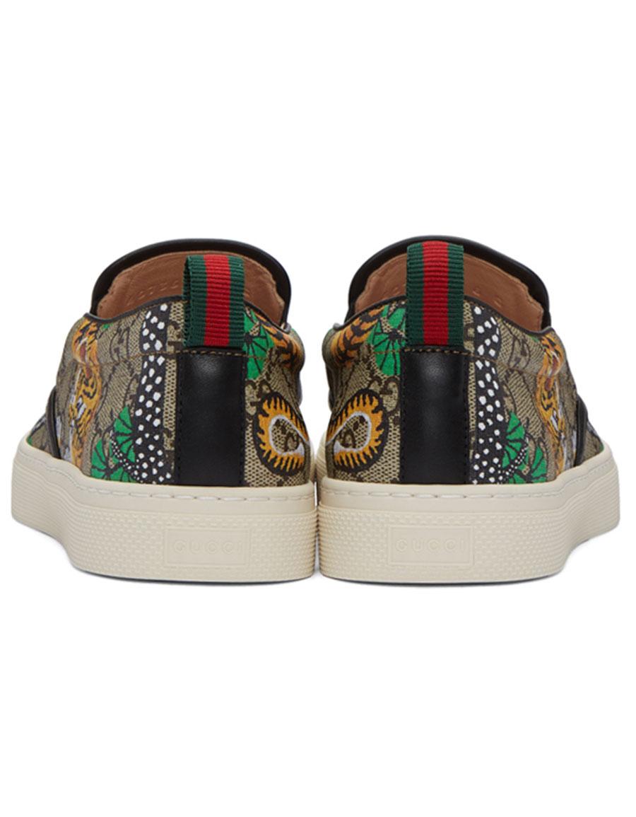GUCCI Brown Bengal Dublin Slip On Sneakers