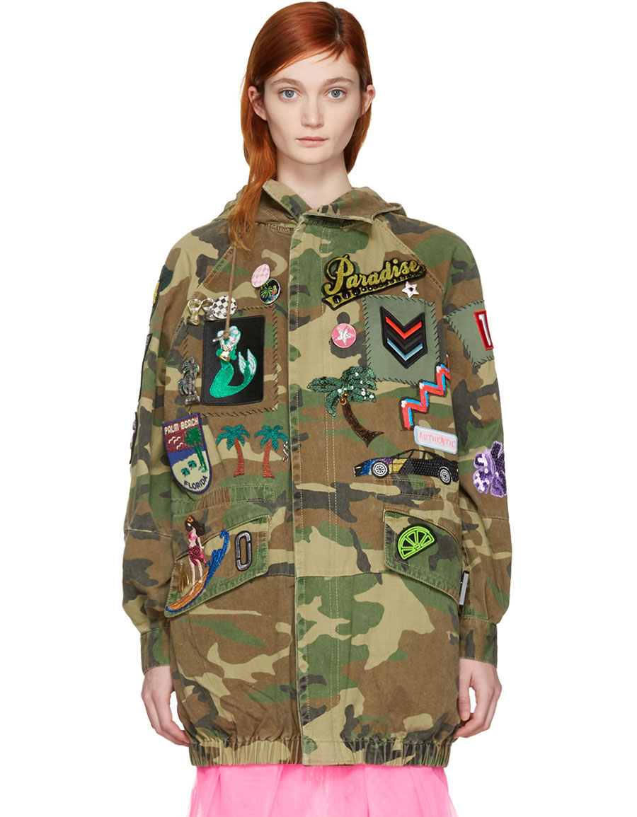 MARC JACOBS Tan Camo Embroidered Jacket