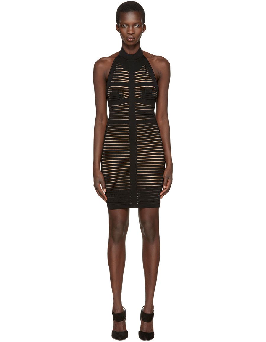 BALMAIN Black Knit Halter Dress