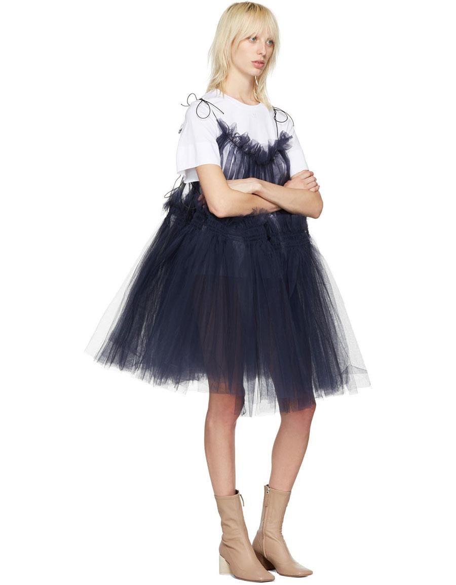 MOLLY GODDARD Navy Tulle Oksana Strappy Dress