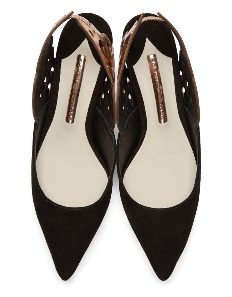 SOPHIA WEBSTER Black Angelo Mid Slingback Heels