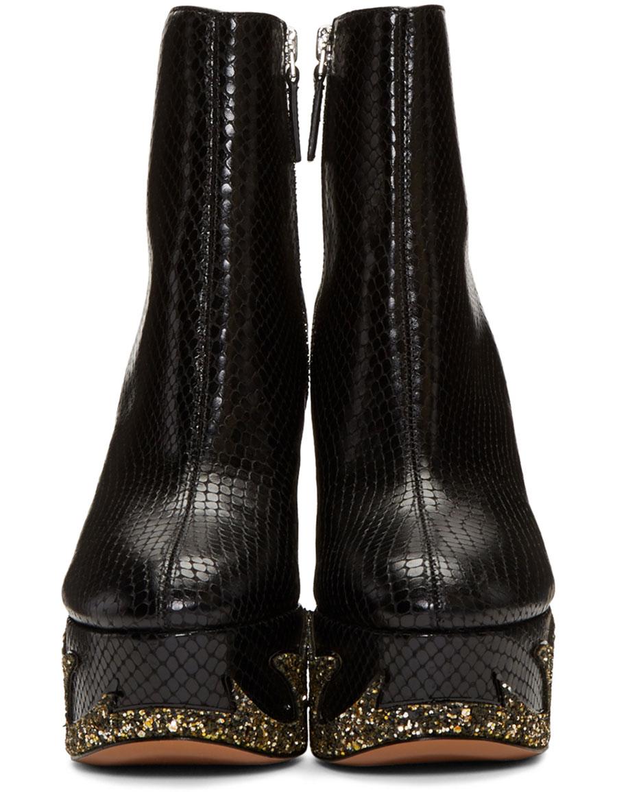 MARC JACOBS Black Snake Embossed Stasha Boots