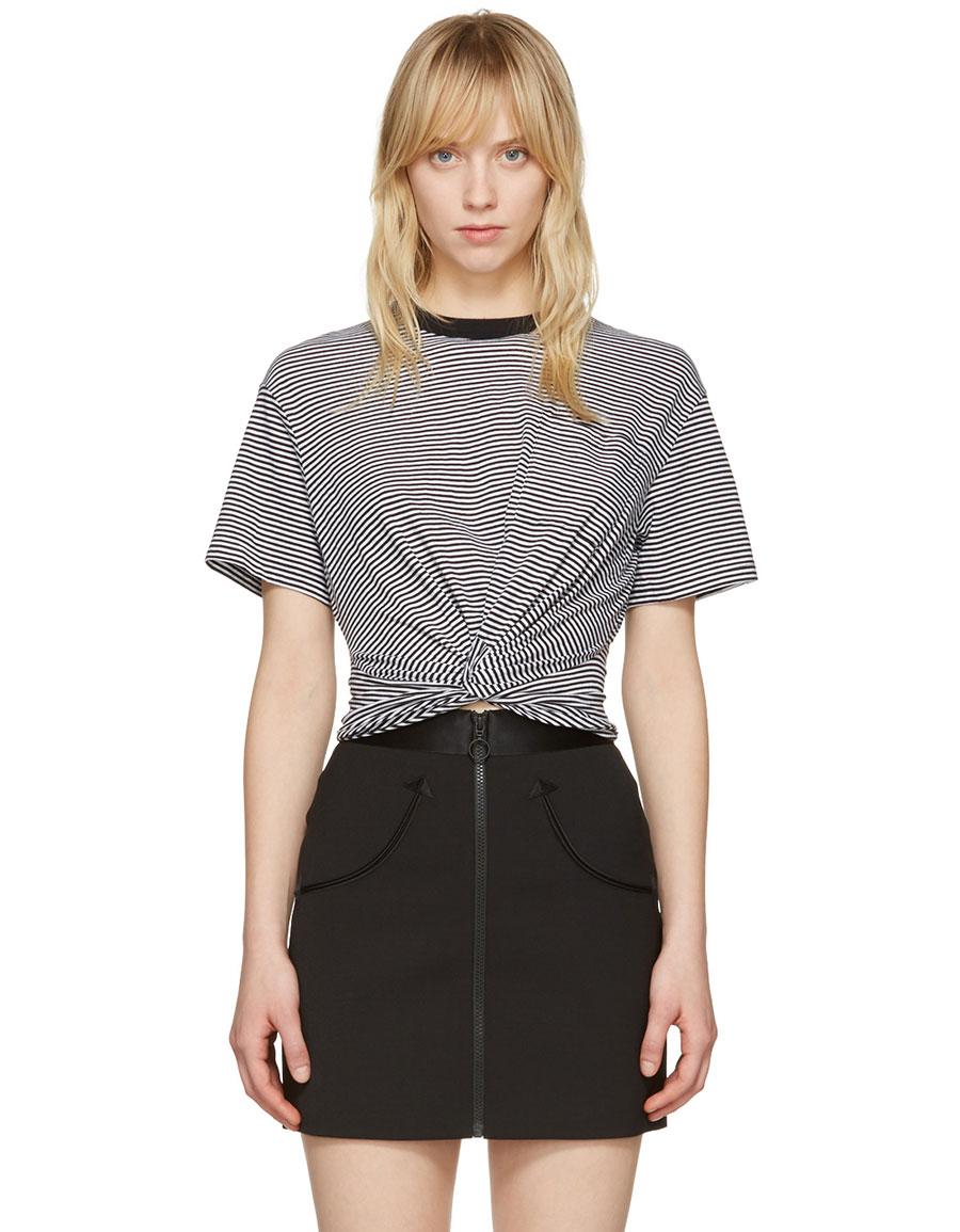 ALEXANDER WANG Black & White Front Twist T Shirt