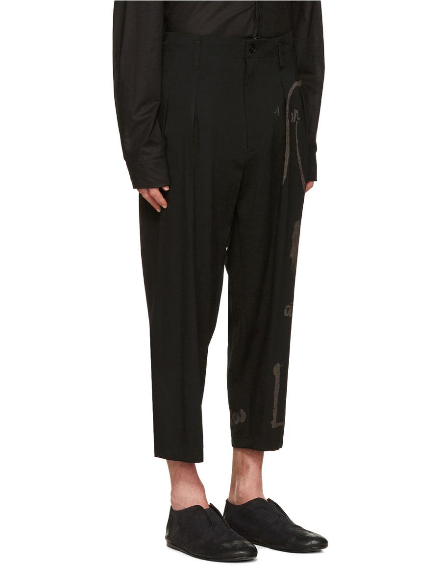 YOHJI YAMAMOTO Black Wide Leg Graphic Trousers