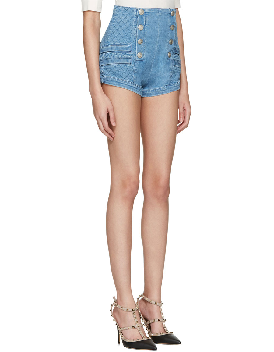 BALMAIN Blue Denim Buttoned Shorts