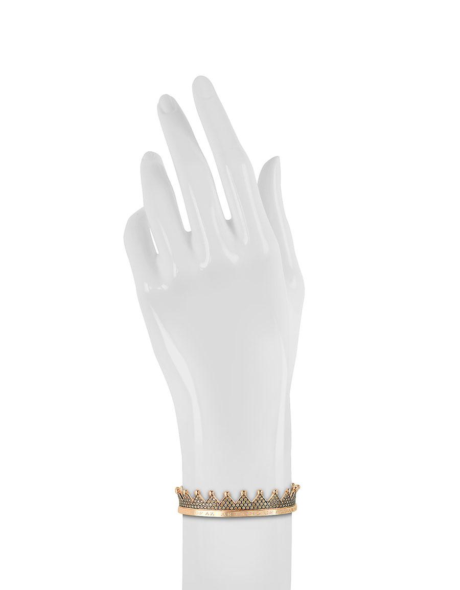 AZHAR Regno Silver and Zircon Crown Bracelet