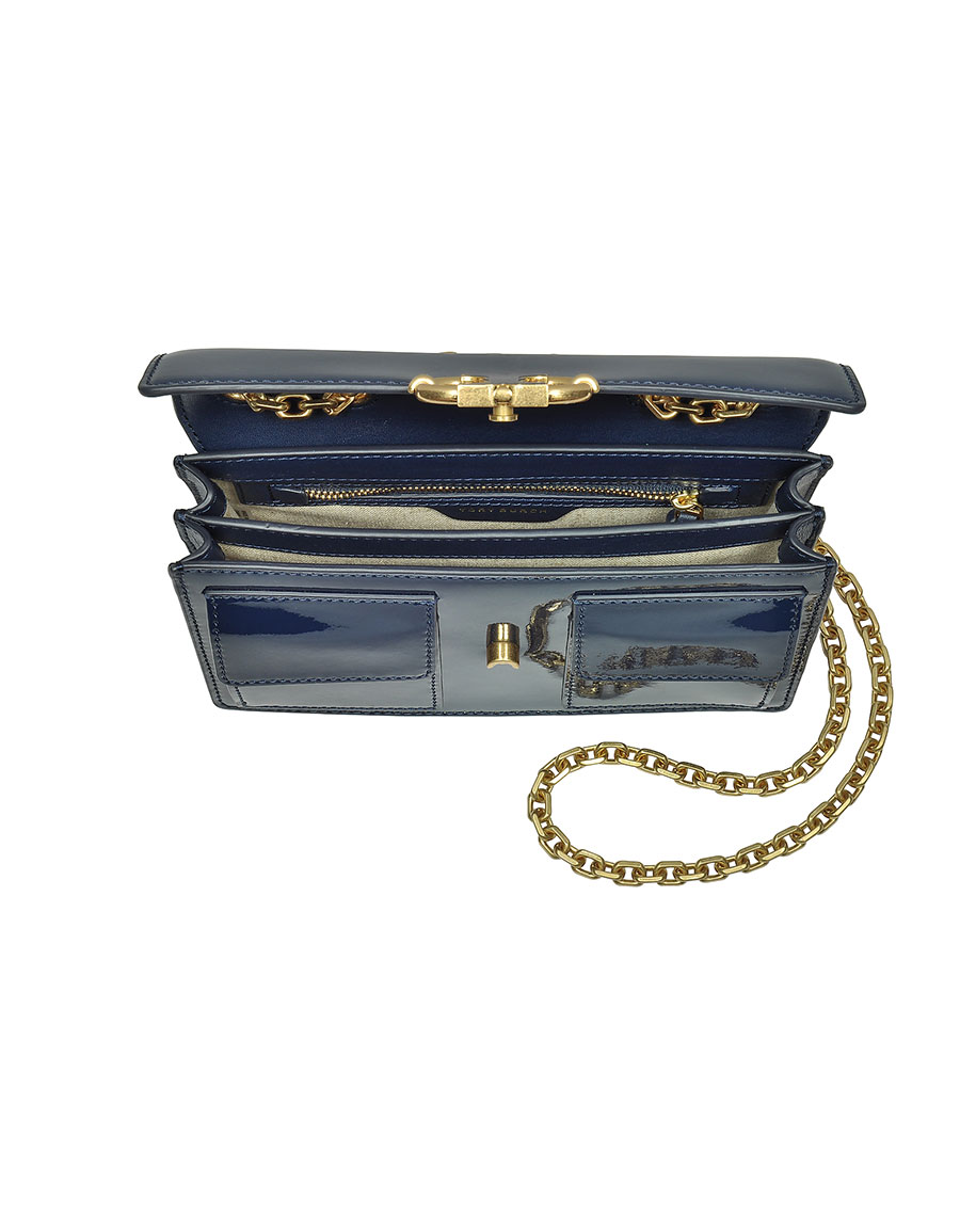 9311c9b0e01 TORY BURCH Gemini Link Royal Navy Patent Leather Chain Shoulder Bag ...