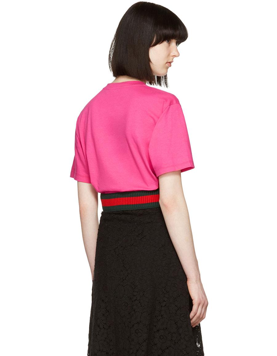a596de9cb97b2 GUCCI Pink Bow Logo T-Shirt · VERGLE