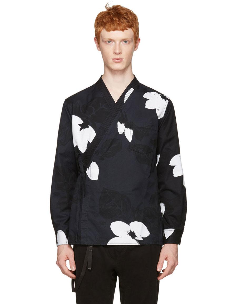 3.1 PHILLIP LIM Black Floral Kimono Shirt