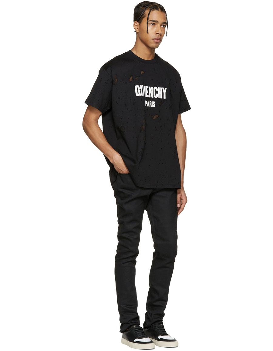 GIVENCHY Black Destroyed Logo T Shirt