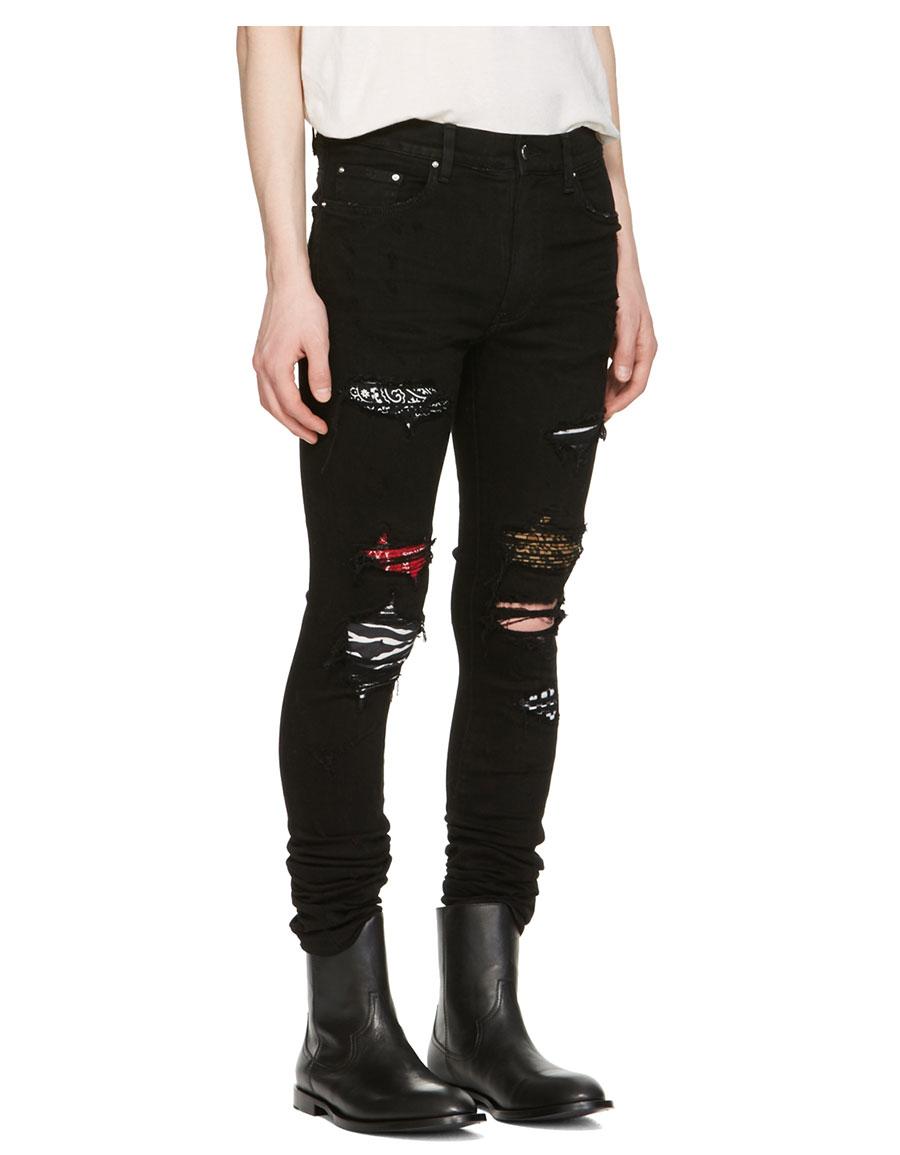 AMIRI Black Art Patch Skinny Jeans