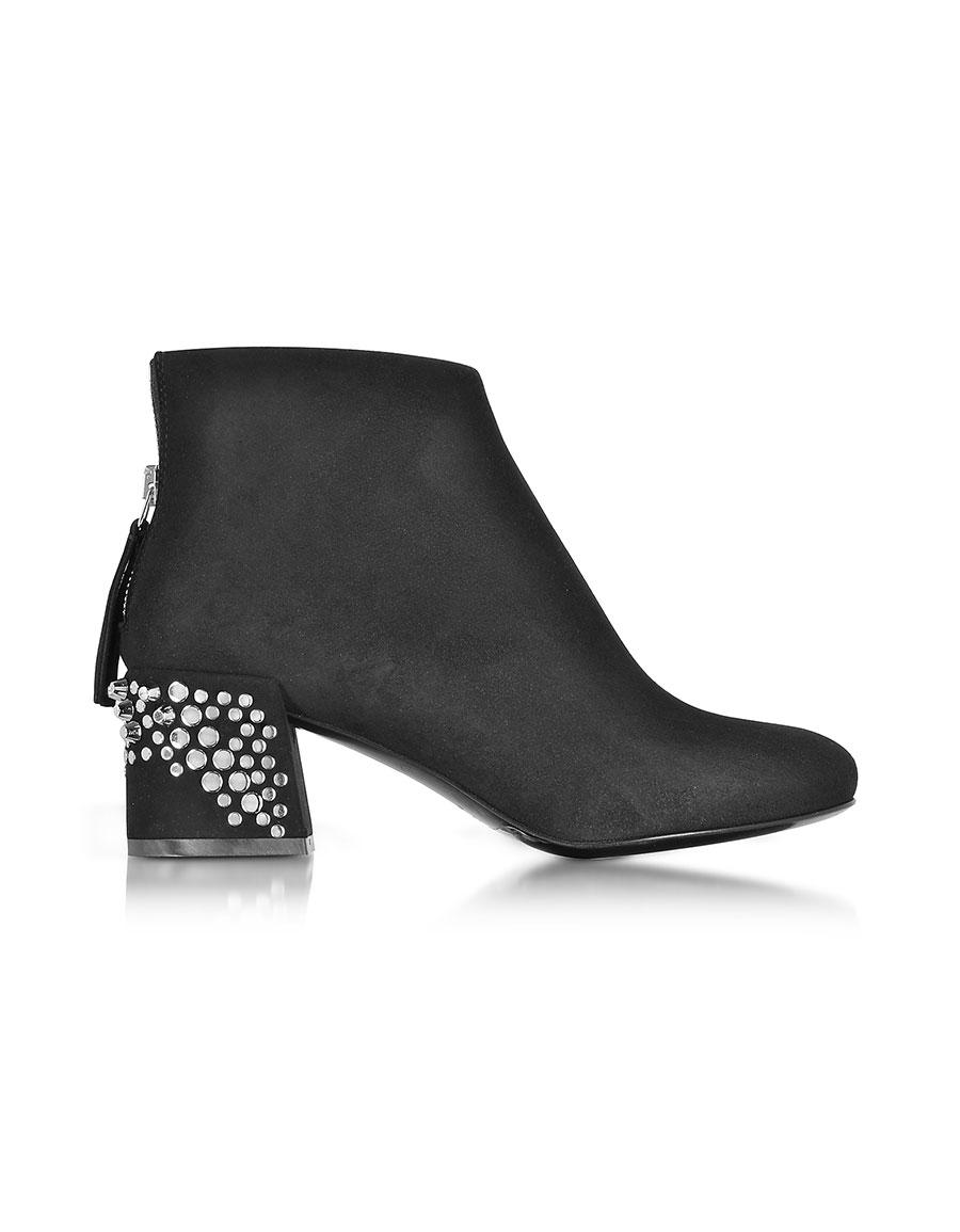 ALEXANDER MCQUEEN Black Suede Pembury Boots w/Studded Heel