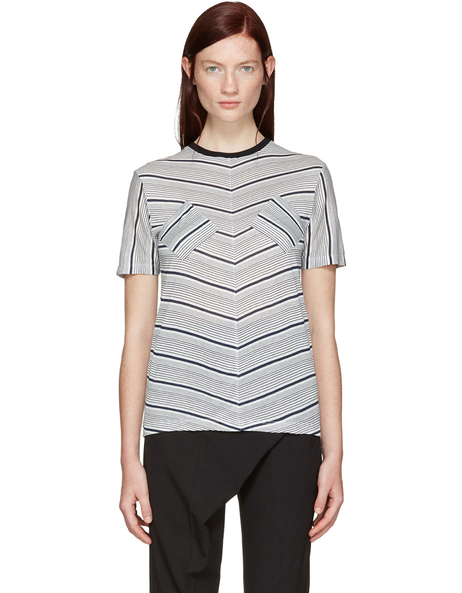 J.W.ANDERSON Navy Double Patch T Shirt