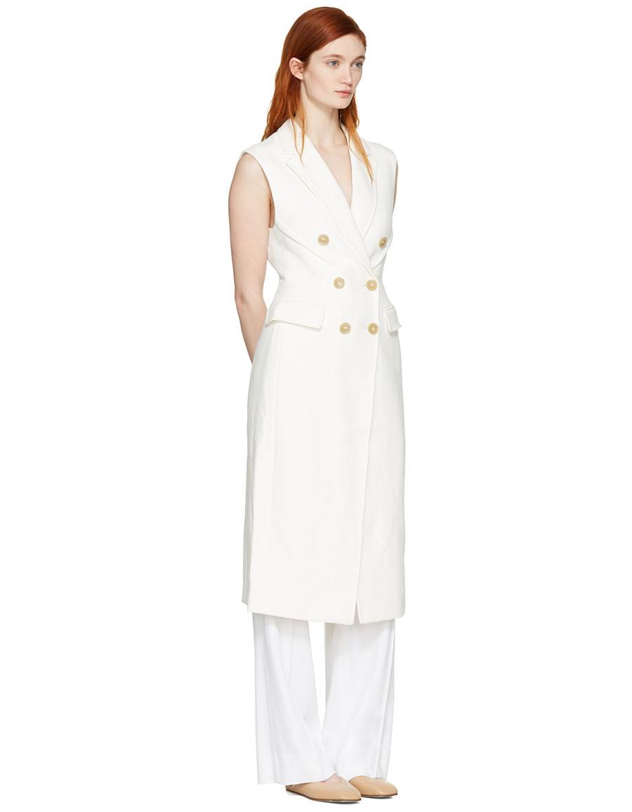 3.1 PHILLIP LIM White Long Sculpted Vest