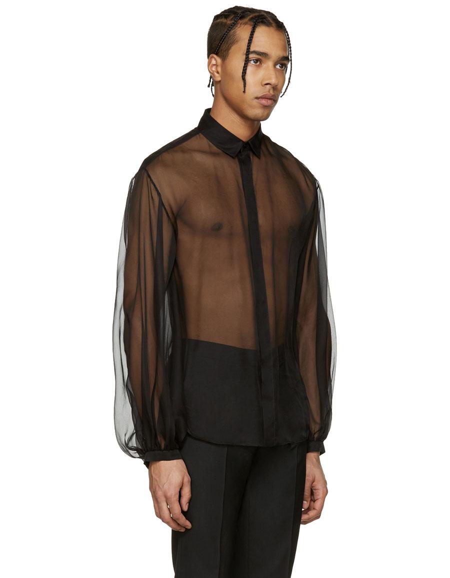 SAINT LAURENT Black Sheer Shirt