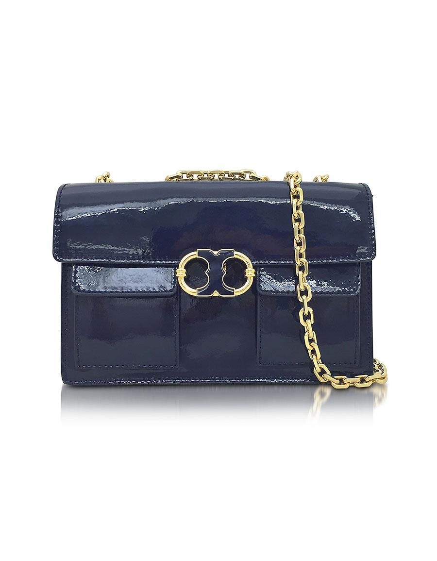 d5e727c133a TORY BURCH Gemini Link Royal Navy Patent Leather Chain Shoulder Bag