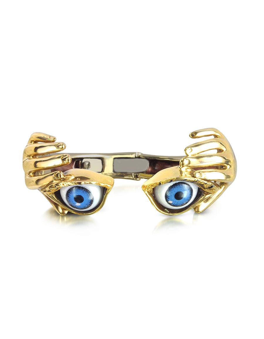 BERNARD DELETTREZ Bronze Hand Stiff Bracelet With Eye