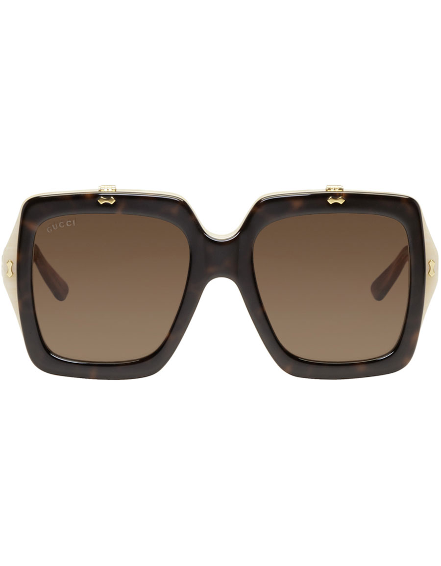 c40563ef01 GUCCI Tortoiseshell Large Square Flip-Up Sunglasses · VERGLE