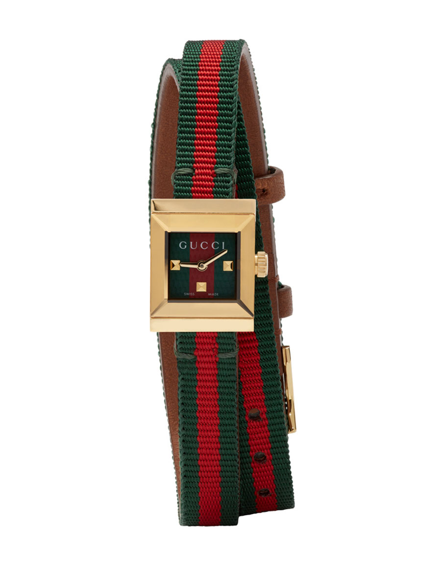 GUCCI Red & Green G Frame Watch