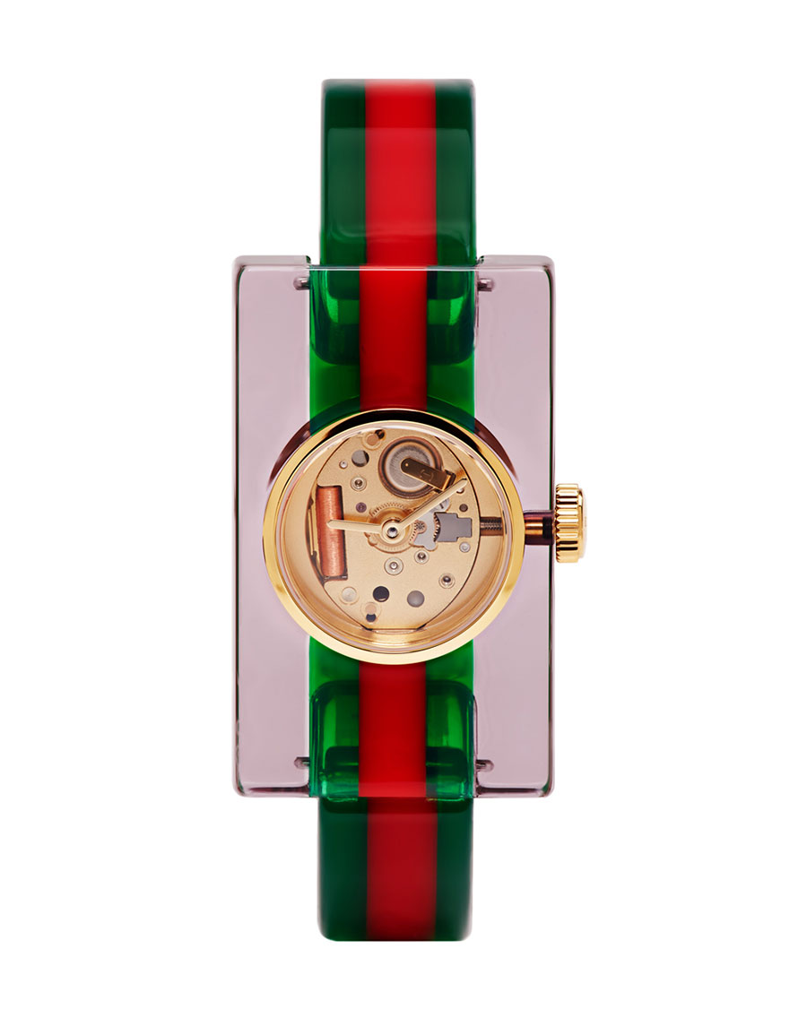 GUCCI Red & Green Plexiglass Skeleton Watch