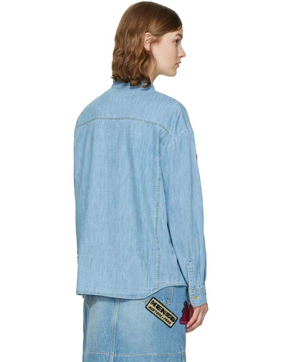 744e7f85 KENZO Blue Denim Cartoon Patches Shirt · VERGLE