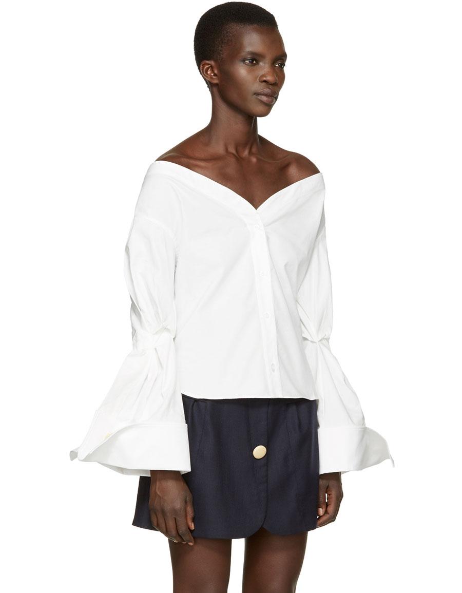 JACQUEMUS White 'La Chemise Épaules Nues' Shirt