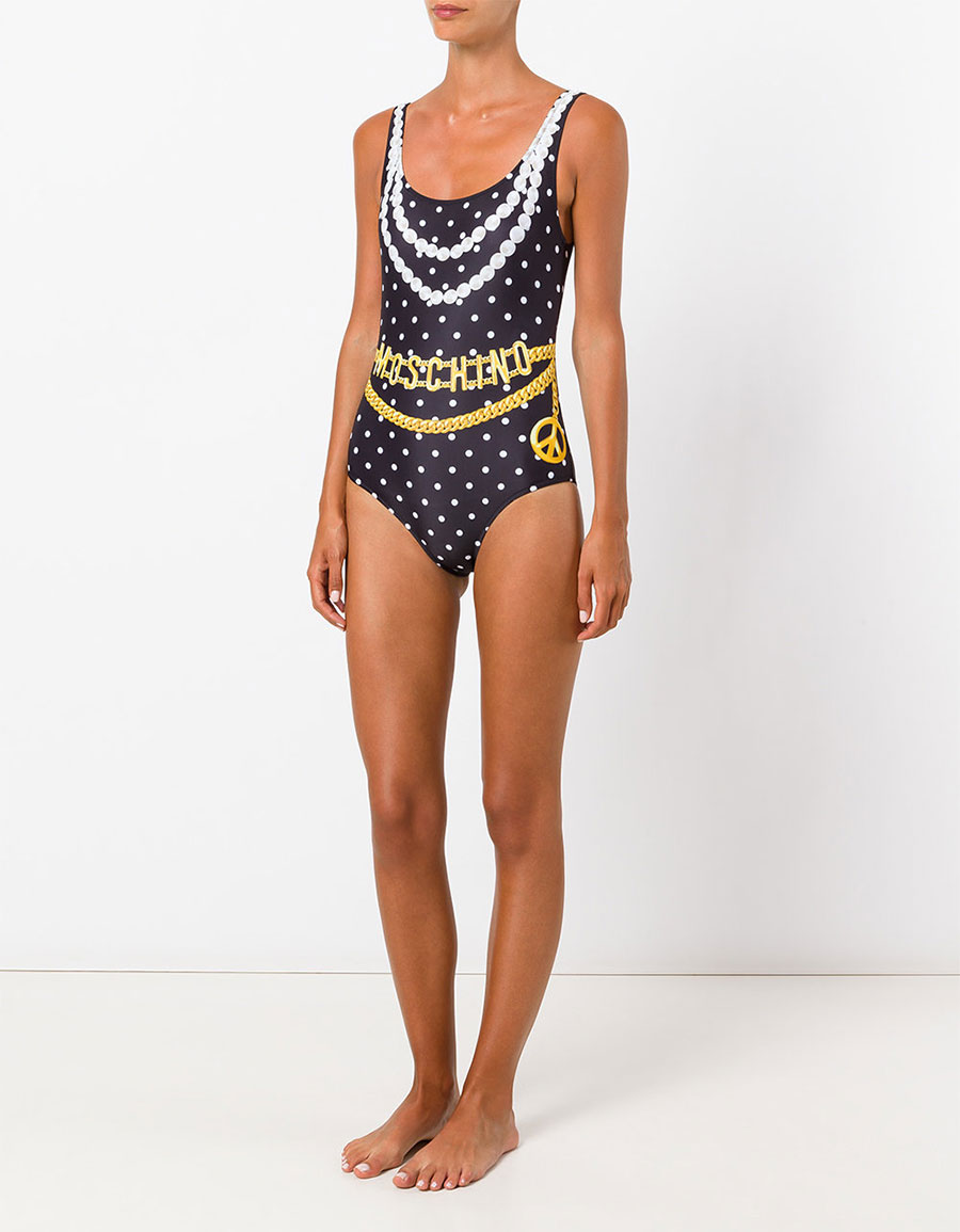 MOSCHINO Chain and necklace print swimsuit