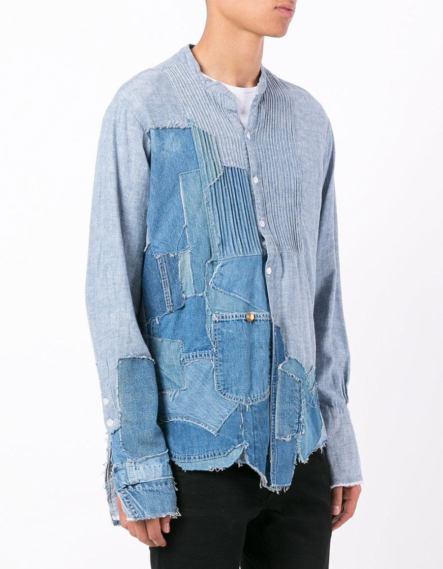 GREG LAUREN Patch denim shirt