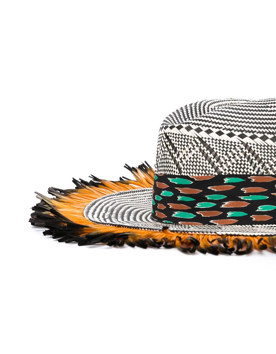 ETRO Fringed woven hat